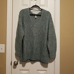 Wishlist V Neck Sweater with Cuffed Sleeves